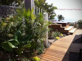 Natural Concept Paysage - Jardin Blue Margouillat - Ile de la Reunion - Douche extérieure - Concepteur de jardins contemporains